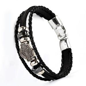 Harley Davidson PU Leather Buckle Bracelet